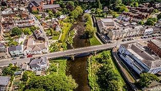 Long Bridge, Newtown Powys Aerial